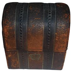 Wonderful Antique Small Leather Covered Trunk, French Fashion