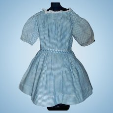 Nice Antique Blue Cotton Check Doll Dress