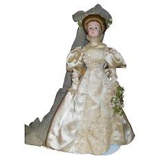 Fabulous Fashion Satin Wedding Gown w Gibson Girl Replica