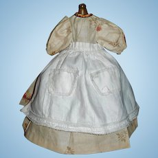 Lovely Floral Cotton Doll Dress with Antique Apron and Petticoat, China