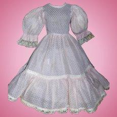 Lovely Pink Cotton Swiss Dot Doll Dress