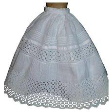 Fabulous Crisp White Double Antique Doll Petticoat