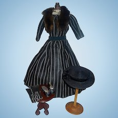 Fabulous Early Antique French Fashion / Lady Doll Dress with Shoes and Accessories