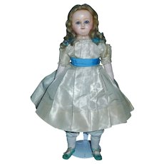 "Sweet 16"" Wax over Papier Mache Antique Doll, Fabulous Wig / Clothes"