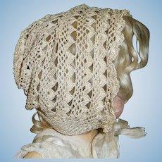 Lovely Antique Ecru Silk Knit Bonnet, Large Doll