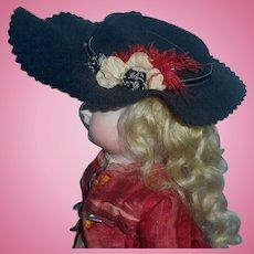 Lovely Antique Black Felt Doll Hat