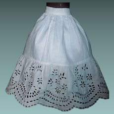 Lovely White Cotton Eyelet Lace Doll Petticoat
