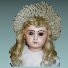 Wonderful Antique Wool Knit Doll Hat with Fur and Ribbon Trim