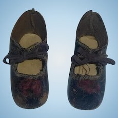 Pair of Antique Brown Leather Doll shoes, Size 6