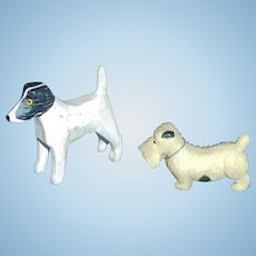Pair of Vintage Miniature Doll House Dogs, Scottie / Pointer