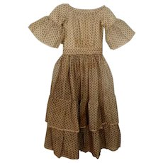 Wonderful Antique Wool Challis Girl's Dress, Ca 1850