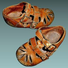 Cute Pair of Early Vintage Child Shoes, Large Doll, Collection