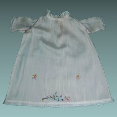 Sweet Little Hand Sewn Doll Gown, Embroidered Flowers