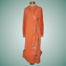 Ca 1950-60 Vintage 2 Pc Orange Dress w Sequins