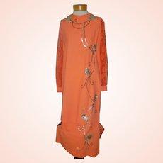 Ca 1950-60 Vintage 2 Pc Orange Dress w Sequins