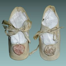 Pair of White Leather Large Doll Shoes, Pink Ribbon Rosettes
