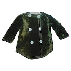Nice Green Velvet Fashion Jacket, Boy or Girl Doll - Red Tag Sale Item