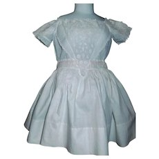 Pretty Antique White Cotton Doll Dress, Eyelet Bodice