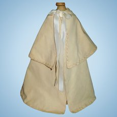 Antique Challis Wool Doll Cape, Feather Stitching