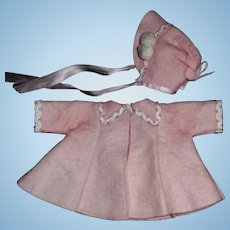 Sweet Vogue Ginny Pink Wool Felt Doll Coat and Bonnet, Tagged Medford