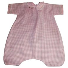 Early Vintage Pink and White Check Gingham Doll Romper