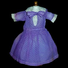 Nice Purple Organdy Dotted Doll Dress