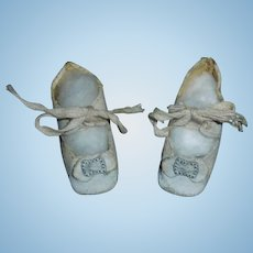 Nice Pair of Early White Oil Cloth Doll Shoes