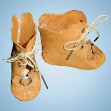 Pair of Brown Leather French LP Doll Boots, TLC