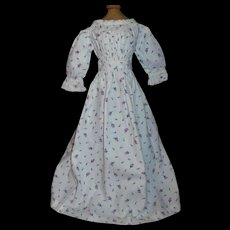 Pretty Vintage Floral Cotton Doll Dress, China, Papier Mache