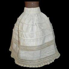 Fabulous Antique Ecru Doll Petticoat,  Crocheted Lace