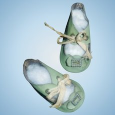Nice Pair of Early Green Oil Cloth Doll Shoes, 6