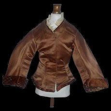 Brown Silk French Fashion Doll Jacket