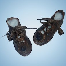 Great Pair of Antique German Character Doll Shoes, 4