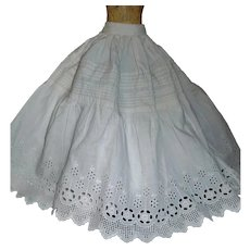 Lovely Antique White Cotton Eyelet double Layer Fashion Petticoat