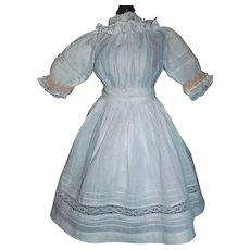 Pretty White Lawn Doll Dress, Tucks and Lace