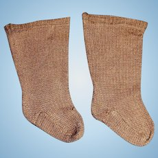Pair of Antique Brown Doll Stockings