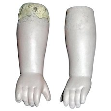 Pair of Antique Bisque Lower Arms / Hands