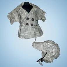 Cute Black and White Plaid Doll Coat and Cap, Boy, Character