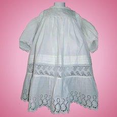 Large Antique White Cotton Eyelet lace Dress, Kestner, Handwerck