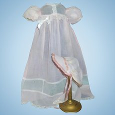 Sweet Pink Organdy Doll Gown with Bonnet