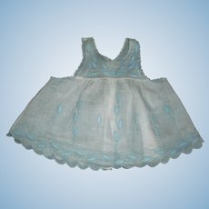 Two Piece Cotton And Organdy Dress And Pinafore For Large