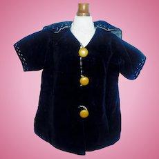 Nice Antique Blue Velvet Doll Coat