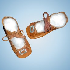 Nice Pair of Brown Leather Doll Shoes incised 5