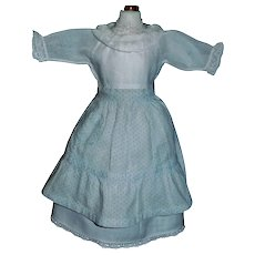 Lovely Early Doll Dress with Apron, China, Papier Mache