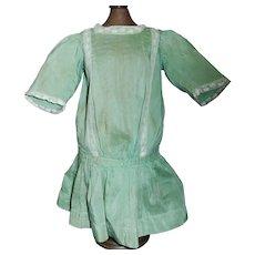 Pretty Antique Green Silk Drop Waist Doll Dress