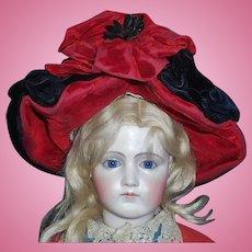 Wonderful Black and Red Antique Velvet Fashion Doll Hat