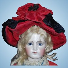 Wonderful Black and Red Antique Velvet Fashion Doll Hat