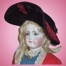 Lovely Antique Maroon Velvet Fashion Doll Hat