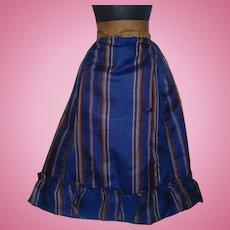Lovely Antique  Blue / Brown Stripe Silk Fashion Doll Skirt