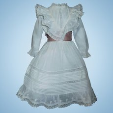 Pretty Antique White Doll Dress w Petticoat and Pantaloons.